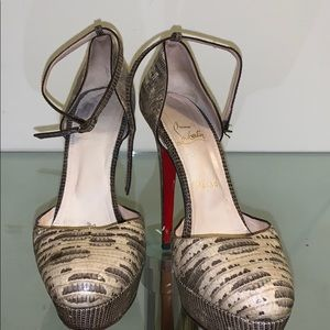 Python louboutin heel with ankle strap